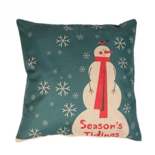 Christmas Snowman Snowflake Cotton Linen Pillow Case Cover Cushion  43*43cm