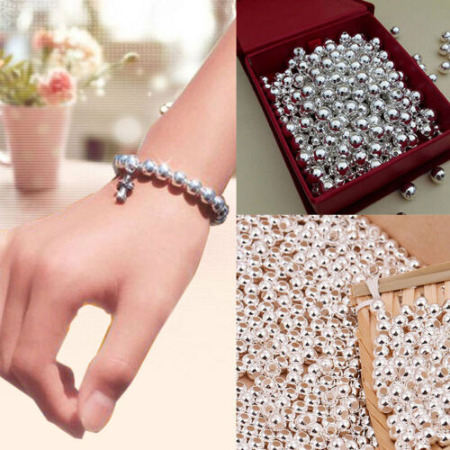 100 Genuine 925 Sterling Silver Round Ball Beads for Jewelry Making Findings 2MM