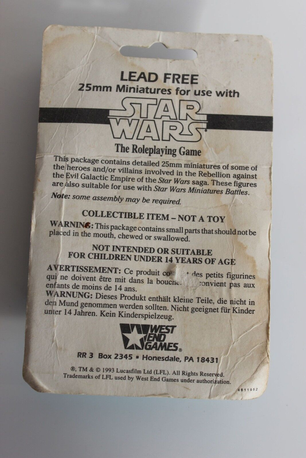 Figurine StarWars : Miniatures Figurines Plomb STAR WARS BOUNTY HUNTERS 2 en Boîte 1993