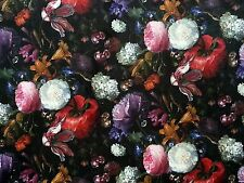 PEONY VELVET BLACK MULTI T143 FLORAL CURTAIN SOFT FURNISHING FLOWERS FABRIC