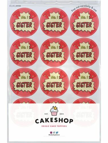 12 x Number 1 Sister Comic Cake Toppers Edible Pre-Cut