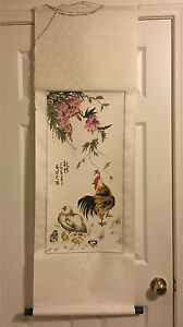 Preowned Chinese Watercolor Painting Scroll Signed