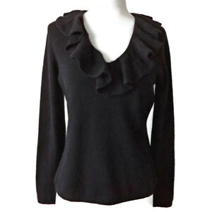 37f24d11 Image is loading RALPH-LAUREN-Cashmere-Ruffle-Collar-Black-Pullover-Sweater-