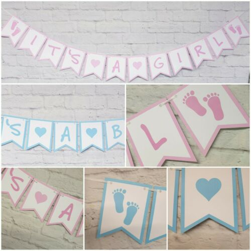 FLAG PERSONALISED New Baby Shower BANNER Twins decorations bunting Gender reveal