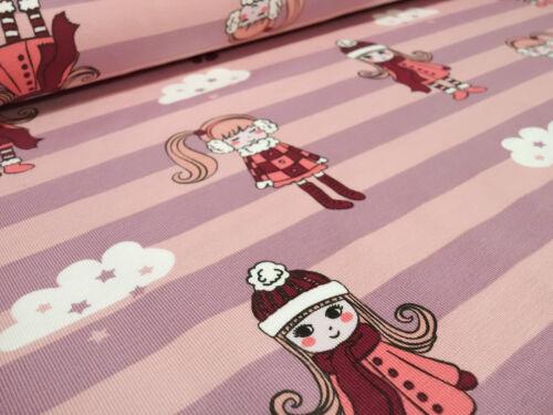 Tela de algodón jersey rayas chica nube rosa lilas niños sustancia