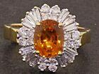 GIA certified 18K gold 5.39CTW VS diamond/Orange sapphire cocktail ring size 11