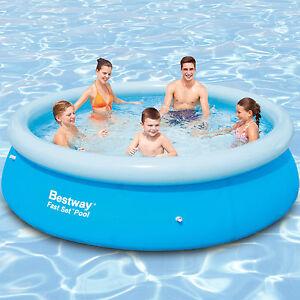 Neu bestway 305x76 swimming pool fast set aufstellpool for Gunstige pools mit pumpe