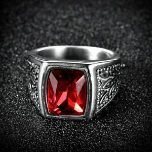 Image Is Loading Mens Square Red Garnet Ruby Stainless Steel Solitaire