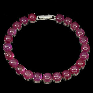 Round-Red-Ruby-7mm-14K-White-Gold-Plate-925-Sterling-Silver-Bracelet-7-5-Inches