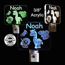Personalized Baby Animals LED Night Light, Kids Lamp, Lion, Giraffe, Elephant
