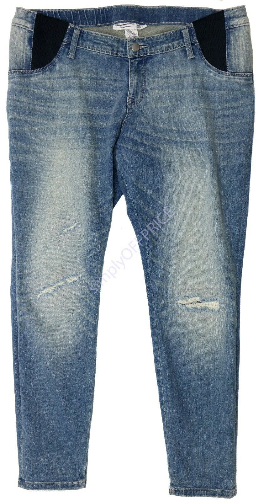 77fecfa2d5dd0 Maternity Inset Under The Belly Distressed Jeggings - Liz Lange for ...