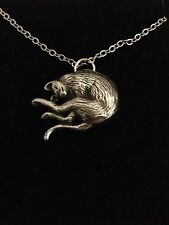Stretching Cat R202 English Pewter on a Silver Platinum Plated Necklace 18""