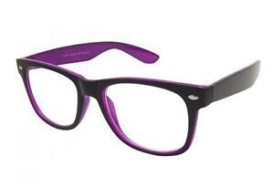 Negro-Morado-Lente-Transparente-Geek-Nerd-Gafas-Moderno-Vintage-De-Disenador
