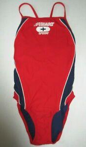 NEW Speedo Women's Swimwear Red Blue Size 8/34 One Piece Lifeguard Swimsuit NWT
