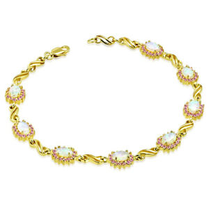 925-Sterling-Silver-Gold-Tone-White-Pink-Simulated-Opal-Tennis-Bracelet-7-5-034