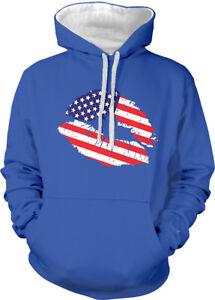 tonos Colors Sudadera con United de Kiss Lipstick Flag dos Lips American States capucha 7nf5qFRxw