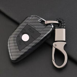 Carbon-Fiber-Design-Shell-Silicone-Cover-Holder-Fob-Case-For-BMW-Remote-Key-B