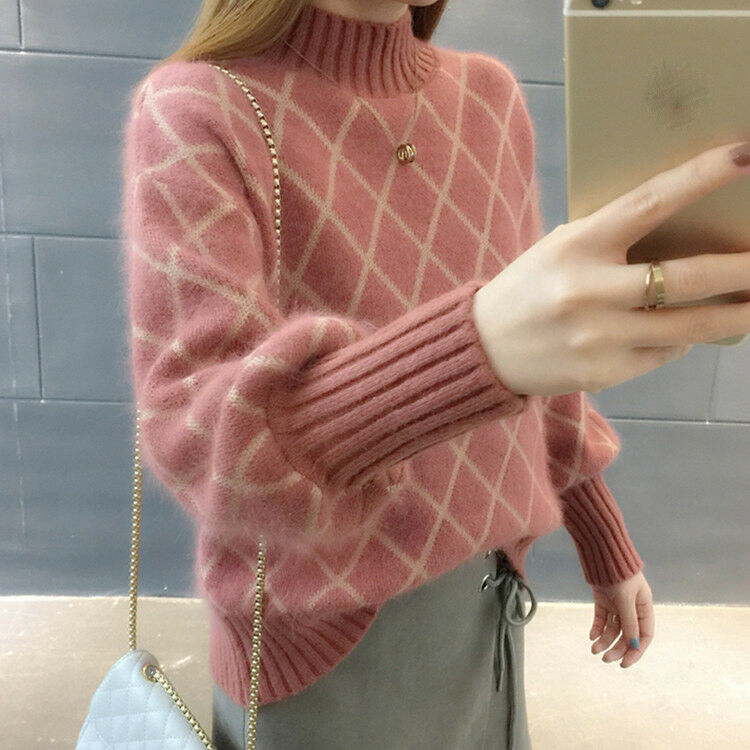Autumn Winter Korean Fashion Lantern Sleeve Loose Cashmere Knitting Sweater Coat