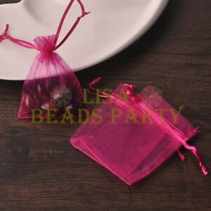 100pcs-12x9cm-Organza-Wedding-Party-Decoration-Gift-Candy-Sheer-Bags-Rose