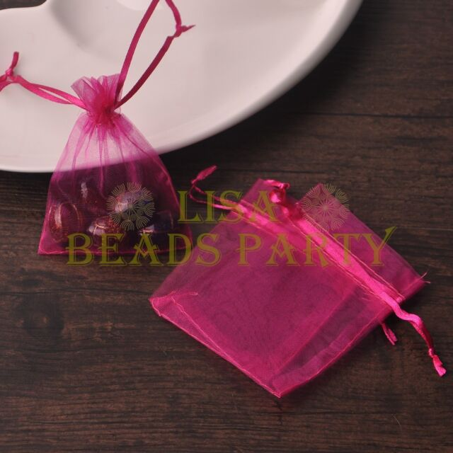 100pcs 12x9cm Organza Wedding Party Decoration Gift Candy Sheer Bags Rose