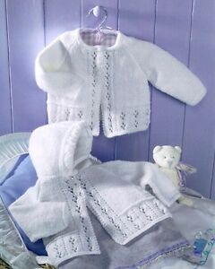 Vintage-Lacy-Eyelet-Baby-Matinee-Coats-Hood-Raglan-16-034-22-034-DK-Knitting-Pattern