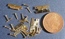 Due Ottone Cerniere & Pin Miniatura Per Casa Delle Bambole 1:12 Scala Accessori