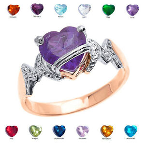10k Rose Gold Heart CZ Birthstone MOM Ring