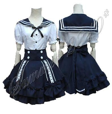 Cute Lolita Girls Lady Sailor Suit Dress White Tops+Navy Blue Bow Skirt Cosplay