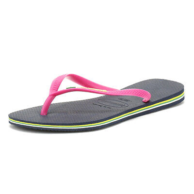 Havaianas Sandali Da Donna Blu Scuro Slim Brasil Logo Infradito Estate Spiaggia Scarpe-mostra Il Titolo Originale Materiale Selezionato