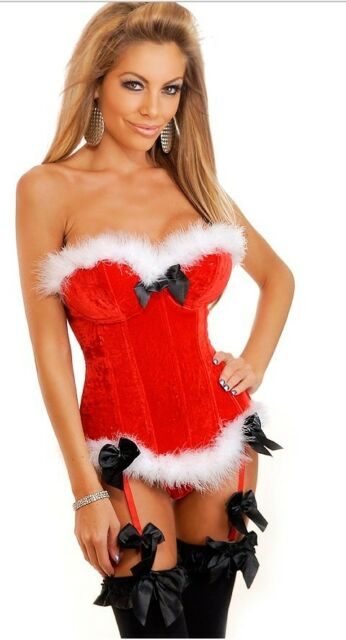 Plus SizeS-2XL Sexy Womens Santa XMAS Costume Boned Lace Up Corset Basques+Thong