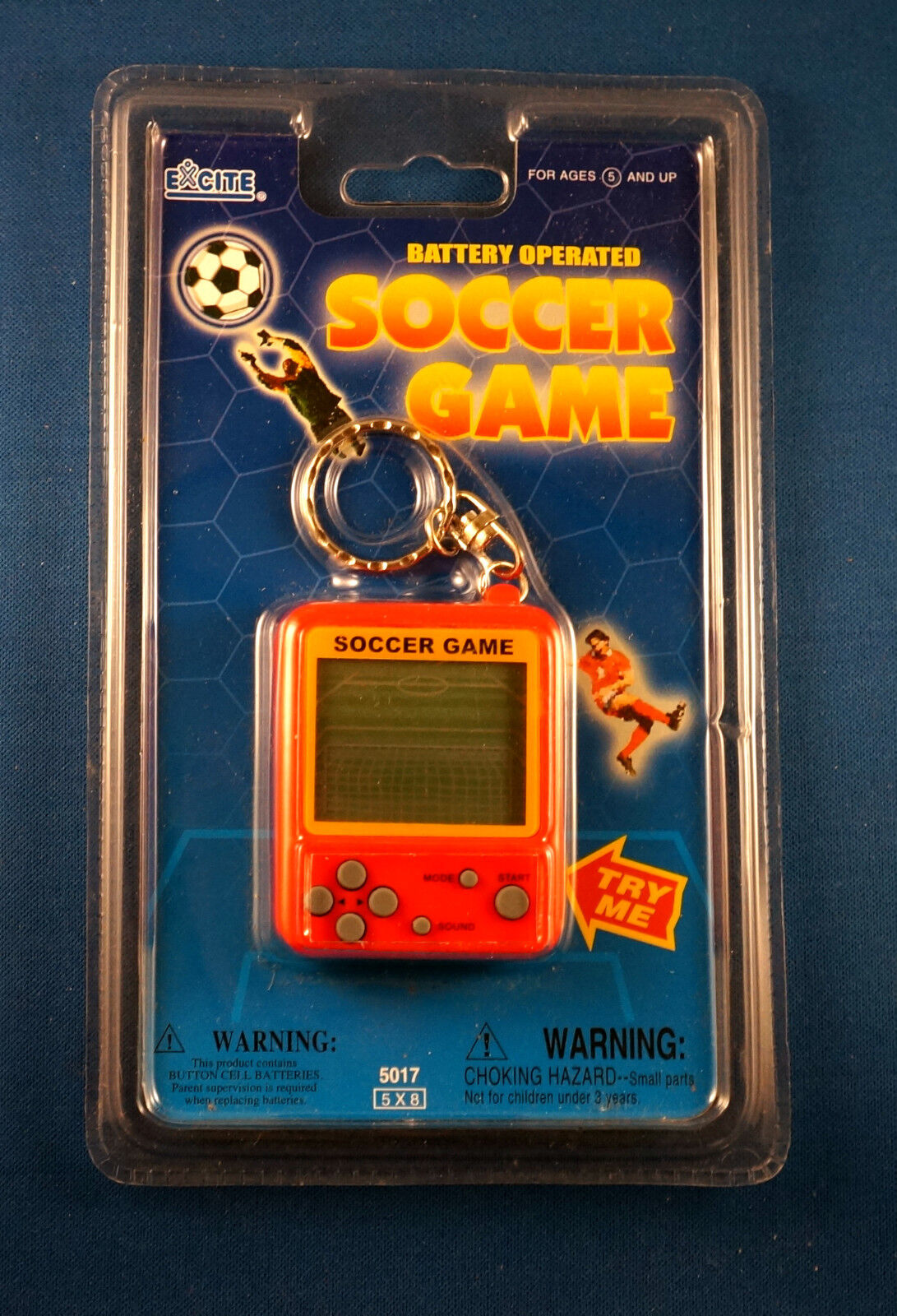 NEW EXCITE SOCCER LCD TRAVEL KEYCHAIN GAME ELECTRONIC HANDHELD KEY CHAIN RING