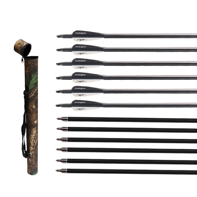 10X31.5/'/'  Archery Carbon Arrows for Recurve//Compound Bow With Arrow Quiver Tube
