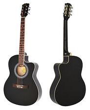 hochwertige 4/4 Akustik Gitarre Westerngitarre in schwarz + Rosenholz Griffbrett