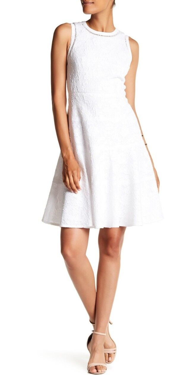 NWT REBECCA TAYLOR NEW White Sea Salt Cotton Knit Jacquard Fit Flare Dress Sz 12