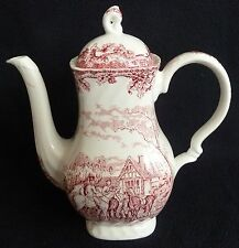 Myott's Pottery Country Life Tall 1.4 litre Coffee Pot Red White Hunting Scene