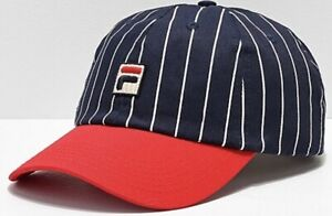 77110f0a475 Image is loading FILA-Heritage-Red-amp-Navy-Pinstripe-Snapback-Hat
