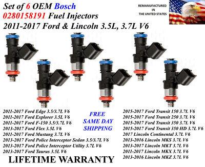 Set//6 Rebuilt OEM Bosch FUEL INJECTORS /> Ford F-150 3.5L V6 2011-2014/< P#BL3E-HB