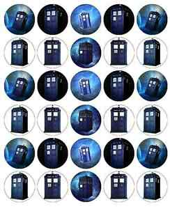 30x Dr Who Tardis Cupcake Toppers Edible Wafer Paper Fairy
