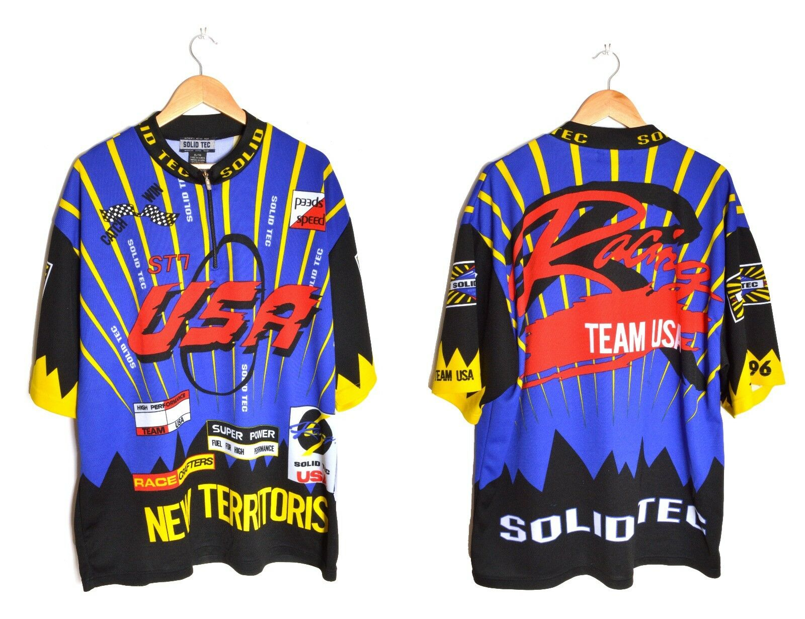 Team USA Cycling Jersey Race Graphic Shirt Half Zip Solid  Tec 1996 Olympic Sz XL  factory outlet online discount sale