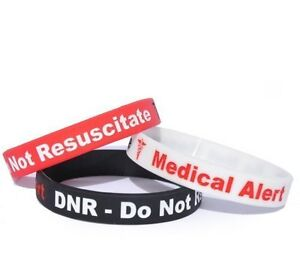 Image Is Loading Dnr Do Not Resuscitate Silicone Wristband X1 Alert