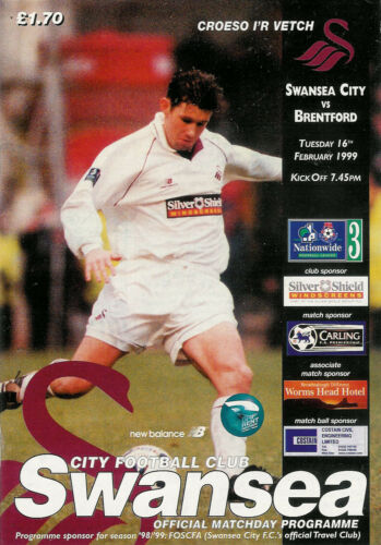 Swansea City v Brentford 16 Feb 1999 FOOTBALL PROGRAMME