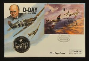 Guernsey-Coin-and-Stamp-First-Day-Cover-1994-D-Day-50th-Anniversary