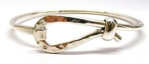 Willensstark Handmade 925 Solid Silver Polished Opening Bangle With Hook Fastening And Box