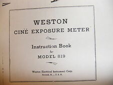 Instructions Light Meter WESTON 819 - CD/EMail