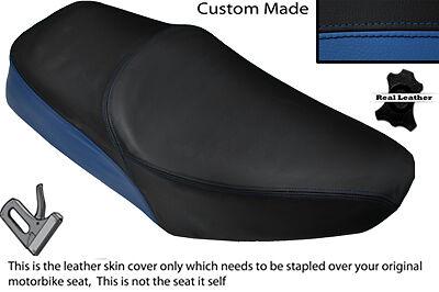BLACK & ROYAL BLUE CUSTOM FITS YAMAHA SR 125 DUAL LEATHER SEAT COVER