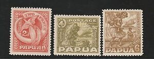 PAPUA 1932 PICTORIAL 2D 4D AND 6D