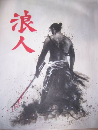 Decor Japan Ninja Martial arts. Seven Samurai 20x14  Oil Painting,framing avail