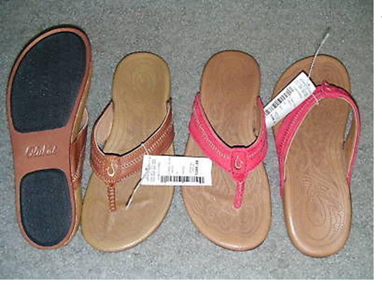 NWT Okailu Damenschuhe Haiku Flip-Flop Sandales ROT Toffee Größe 7 Retail 100