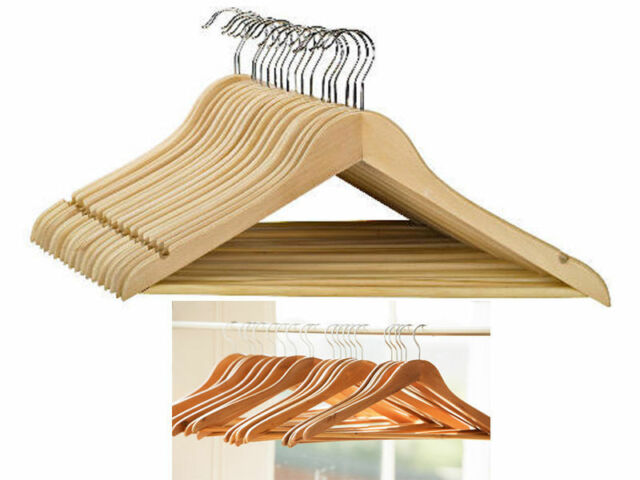 Pack of 100 *SALE* Mahogany Clothes Hangers with Trouser//Skirt Clips