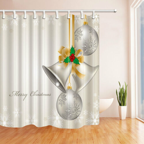 Silver White Christmas Bell Shower Curtain Bathroom Fabric /& 12hooks 71*71inches